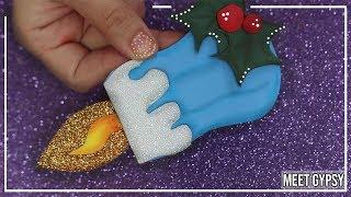 Tutorial Vela en goma eva + MOLDE // Como hacer vela con foami fácil // Adorno navideño goma eva