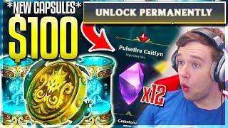 LUCKIEST OPENING!! 100% LEGENDARY SKIN & GEMSTONES! $100 Cursed Capsules Opening - League of Legends