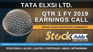 Tata Elxsi Ltd Investors Conference Call Qtr1 FY19