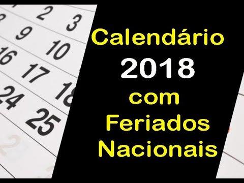 CALEND�RIO 2018 COM FERIADOS | OLHA S� QUANTOS FERIAD�ES DE 2018