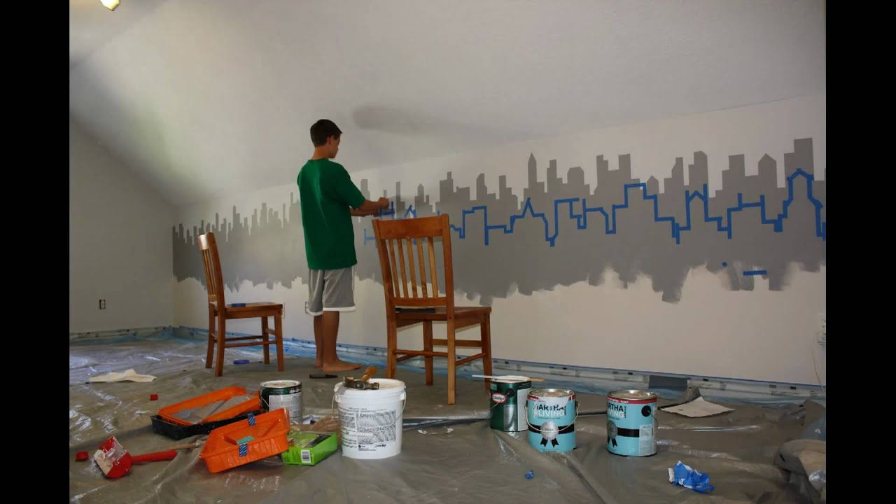 New york cityscape mural time lapse youtube for Cityscape murals photo wall mural