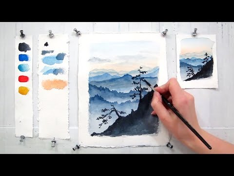 Blue Ridge Mountains. Easy Step By Step Watercolor Tutorial (updated)