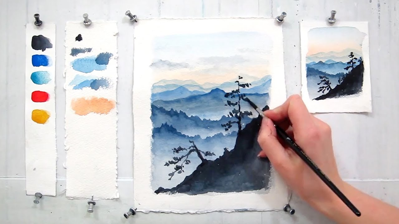 Blue ridge mountains easy step by step watercolor for Watercolor painting step by step