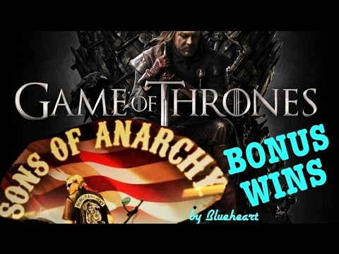 SONS OF ANARCHY slot machine BONUS WINS and Retriggers! With GAME OF THRONES slot bonus! - 동영상