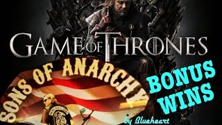 SONS OF ANARCHY slot machine BONUS WINS and Retriggers! With GAME OF THRONES slot bonus!(This is Sons of Anarchy slot machine two bonus wins and Game of Thrones slot machine max bet bonus win videos. Slot machine, slot machine wins. I had short ..., 2017-02-24T08:00:00.000Z)
