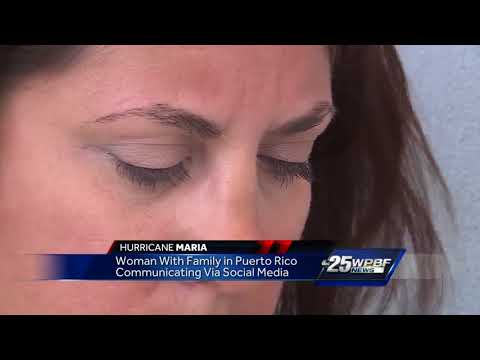 Woman with family in Puerto Rico communicating via social media