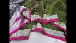 Latest 2018 Trend Silver Zari Linen Sarees With Contrast Blouse || Pure linen sarees zari border