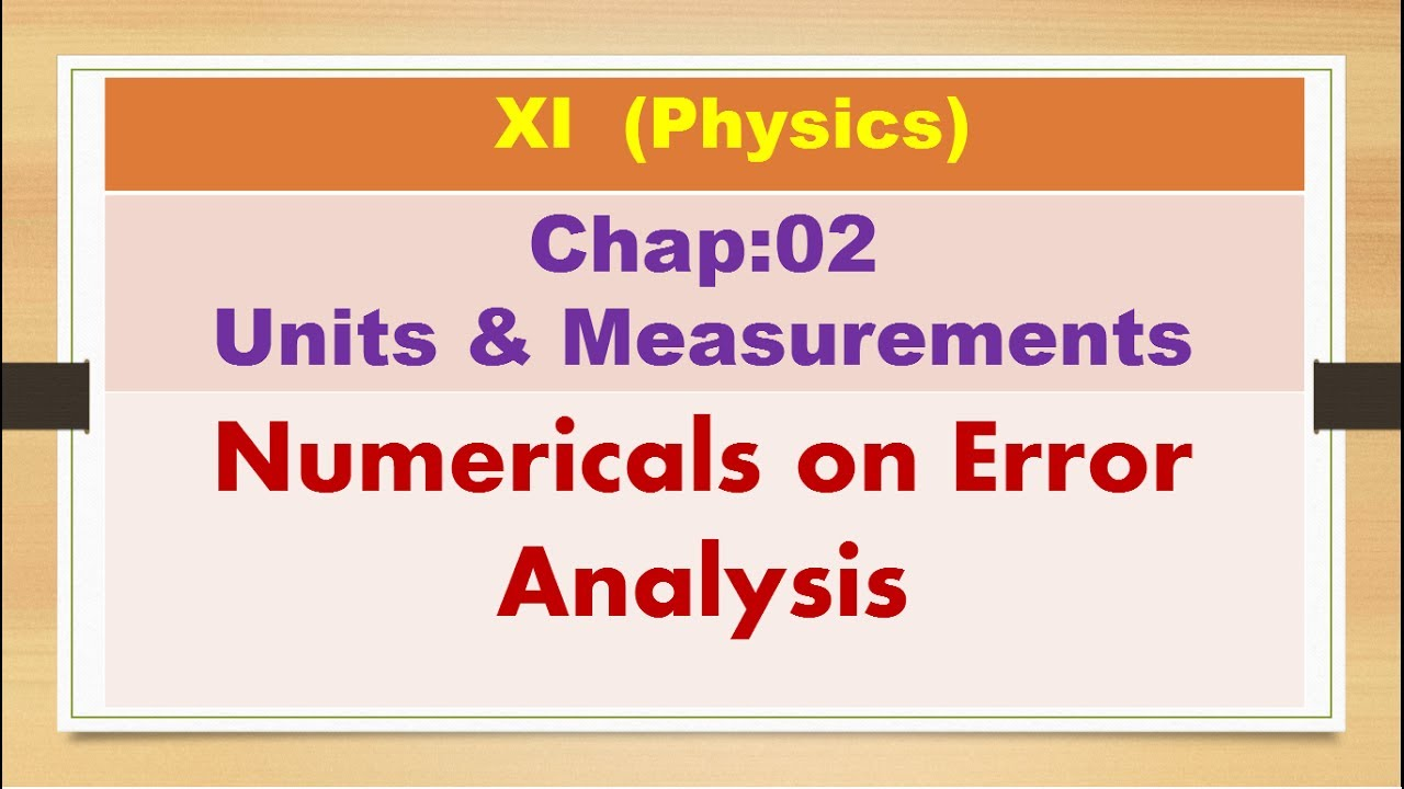 NCERT-XI- Physic-Chap-02-Error Analysis Numericals (Units & measurements)  Numericals