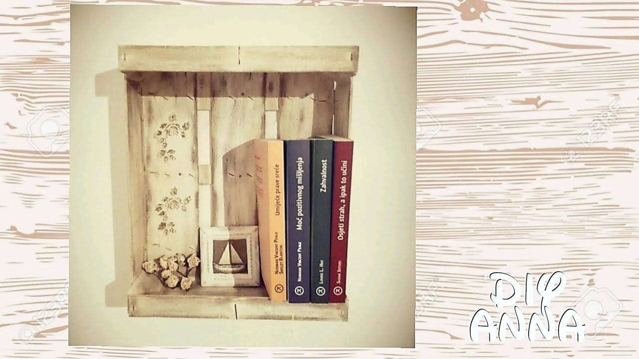 wooden fruit box - wall book shelves DIY decoupage vintage shabby ...