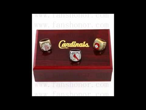 St. Louis Cardinals MLB Championship Rings Set Wooden Display Box Collections