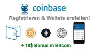 Coinbase - Teil 1: Registrieren + Bitcoin & Ethereum Wallet erstellen!