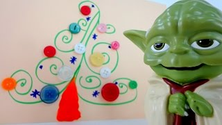 Поделки для детей: Новогодняя елка для мастера Йода