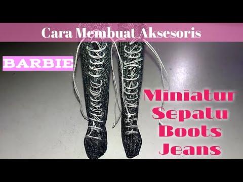 👢Cara Membuat Aksesoris Barbie : Miniatur Sepatu Long Boots Jeans