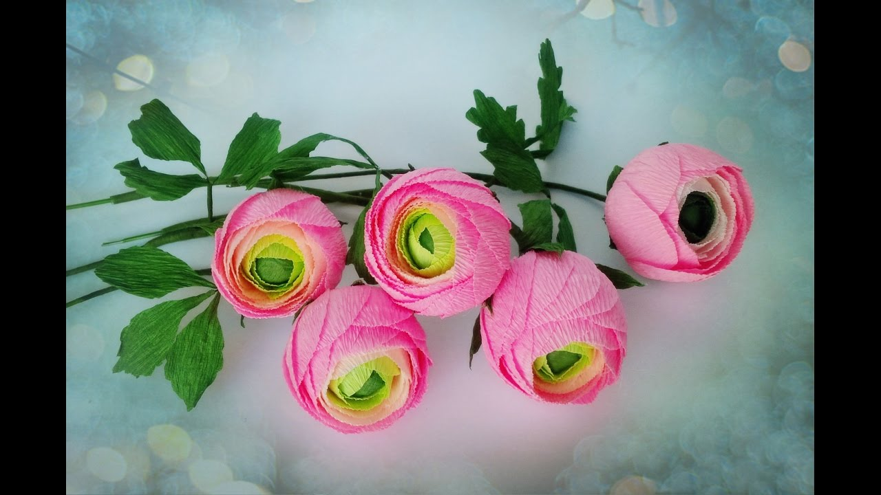 How to make ranunculus flower from crepe paper craft tutorial how to make ranunculus flower from crepe paper craft tutorial youtube mightylinksfo