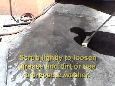 How to clean sidewalks driveways and garage floors with for How to degrease concrete garage floor