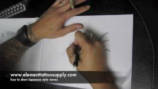 How to draw japanese waves for a tattoo