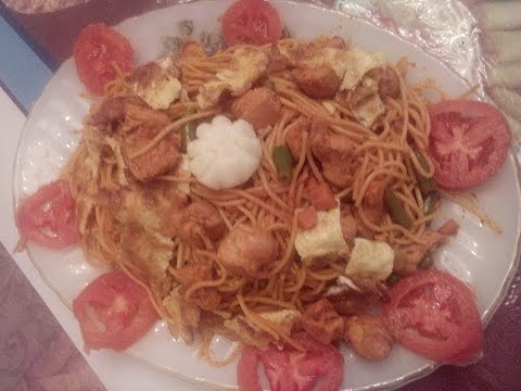 Spaghetti with Mix Vegetable & Chicken Recipe (in Urdu/Hindi) by Sehar Syed