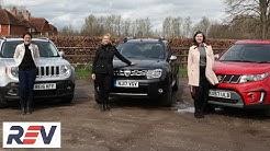 The REV Test: Budget SUVs. Dacia Duster vs Jeep Renegade vs Suzuki Vitara.