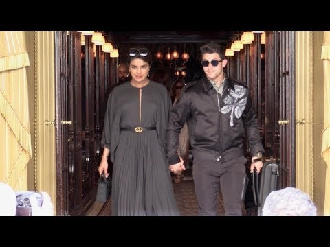 EXCLUSIVE : Pryanka Chopra and Nick Jonas come out of the Costes Hotel in Paris