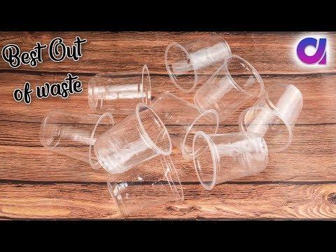 Best out of waste plastic glass crafts idea | Room decor | Artkala