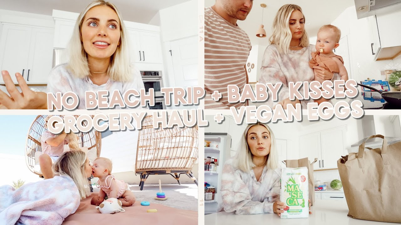 cancelled our beach trip :( trying vegan eggs + baby kisses!