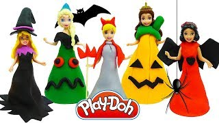 Куклы Принцессы Диснея НАРЯДЫ НА ХЕЛЛОУИН из пластилина Play Doh Halloween Costumes Disney Princess