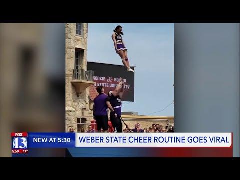 Cheerleaders' Gravity-Defying Routine Goes Viral