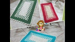 👊# Tapete em fio conduzido em diagonal sem Flor - Pink Artes Croche by Rosana Recchia