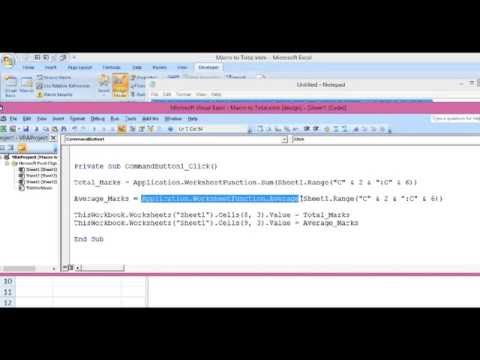 Excel VBA : Macro for Sum and Average - YouTube