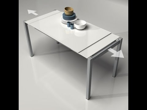 mesa cocina extensible cristal Compass duplo cancio blanca - YouTube