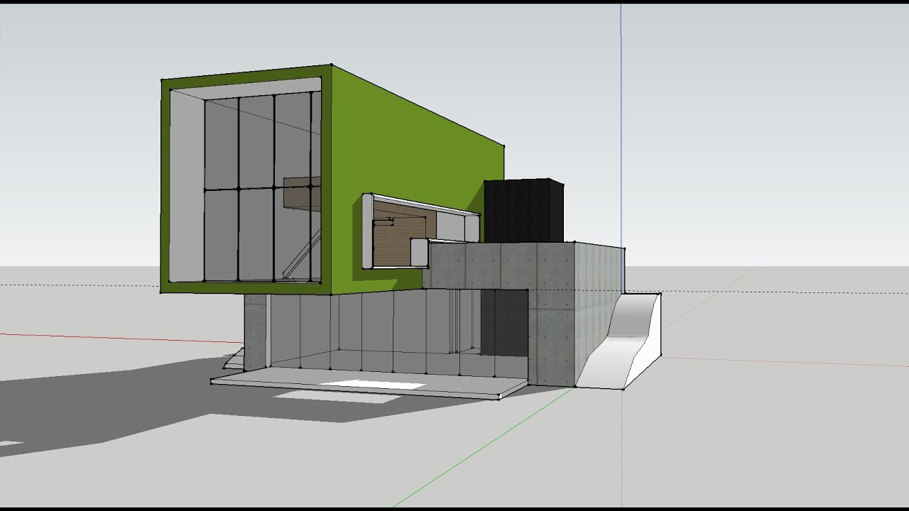 Modern house sketchup speed build youtube for Modern house sketchup