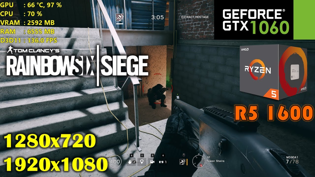 GTX 1060 | Rainbow Six Siege ❗️ Ryzen 5 1600 ❗️ 1080p and 720p