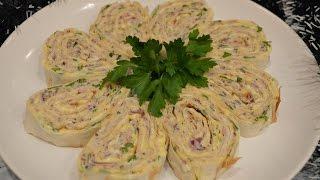 Закусочный лаваш с сардиной и сыром