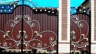 видео Как сделать красивые ворота из профнастила с ковкой
