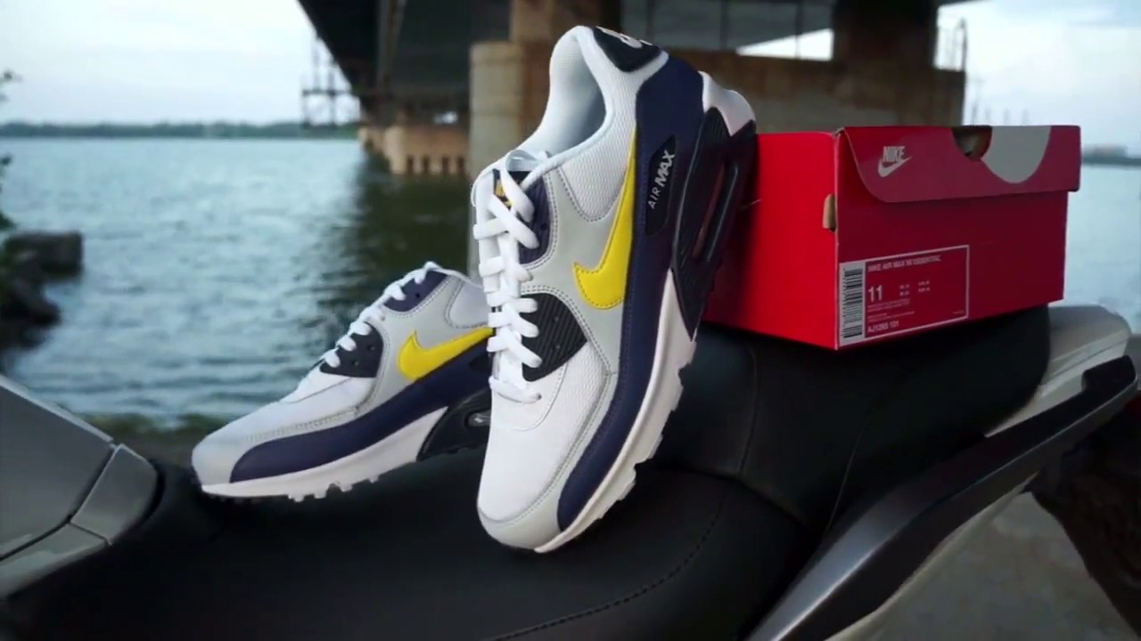 1761dcfc4e5 Nike Air Max 90 Essential White Tour Yellow - Blue AJ1285-101 - YouTube
