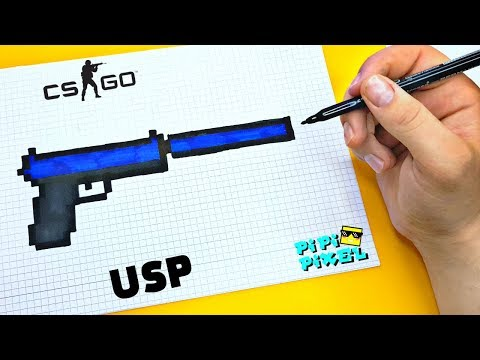 Пистолет USP из CS:GO! Block Strike !РИСУНКИ ПО КЛЕТОЧКАМ !HK USP CS:GO DIY