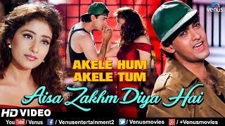 Aisa zakhm diya hai - hd video song | aamir khan & manisha koirala akele hum tum 90's bollywood best love singers : udit narayan amir khan...