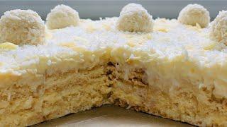 🍰Быстрый Торт «РАФАЭЛЛО» БЕЗ ВЫПЕЧКИ! Прост в Приготовлении, Безумно Вкусный и Нежный!🎂