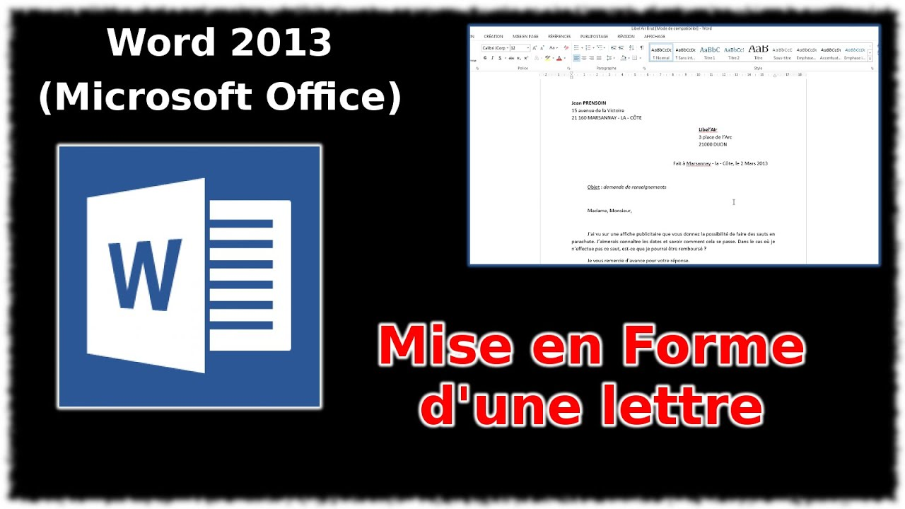 Tuto mettre en forme une lettre word 2013 youtube - Phrase a mettre sur une photo ...