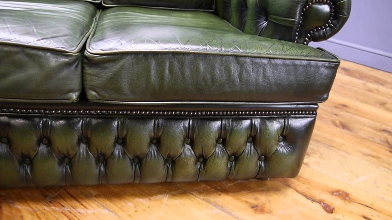 Two Seater Green Leather Chesterfield Sofa - YouTube