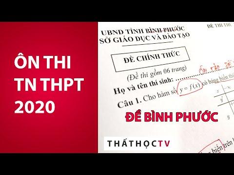 Giải Đề Thi Thử Tốt Nghiệp THPT 2020 Môn Toán Sở Bình Phước