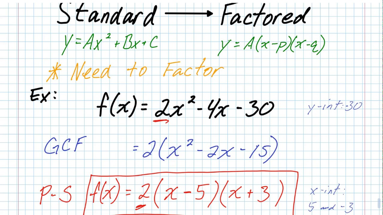 factored form to standard form A2 - Converting Standard Form to Factored Factor