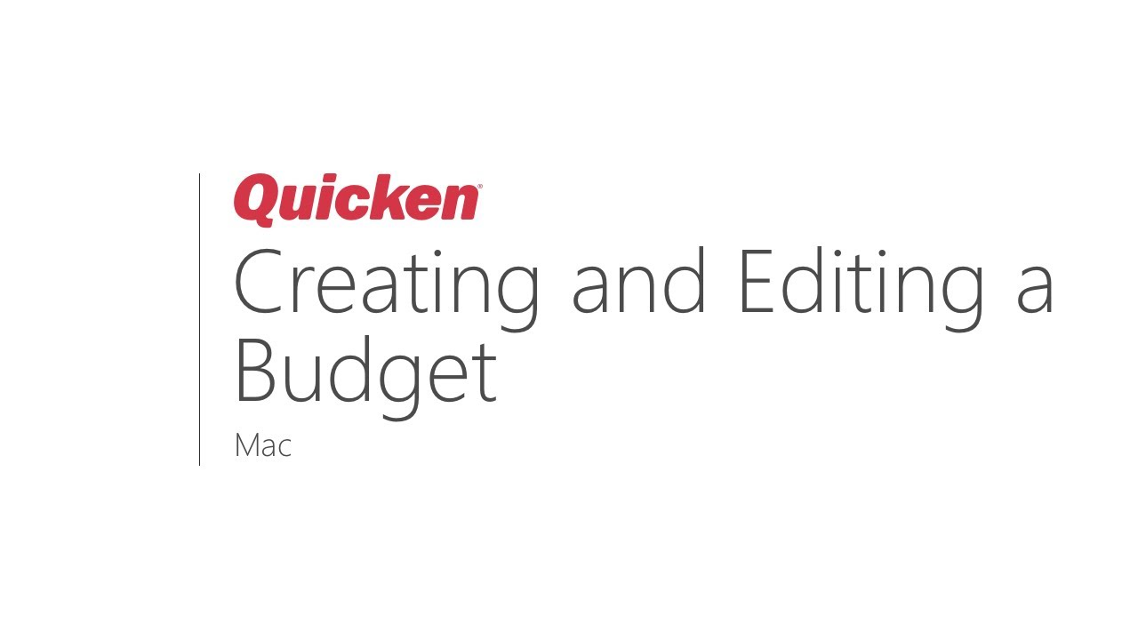 Quicken for Mac - Creating and Editing a Budget