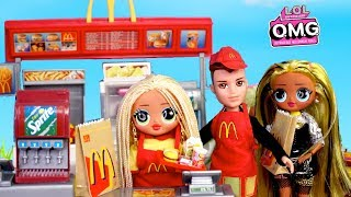 LOL OMG Doll Work in Barbie Mc Donalds & Neonlicious Has a New Boyfriend