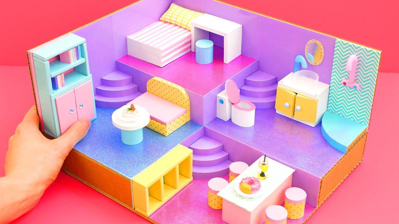 DIY Miniature Cardboard House #35  bathroom, kitchen, bedroom, living room for a family