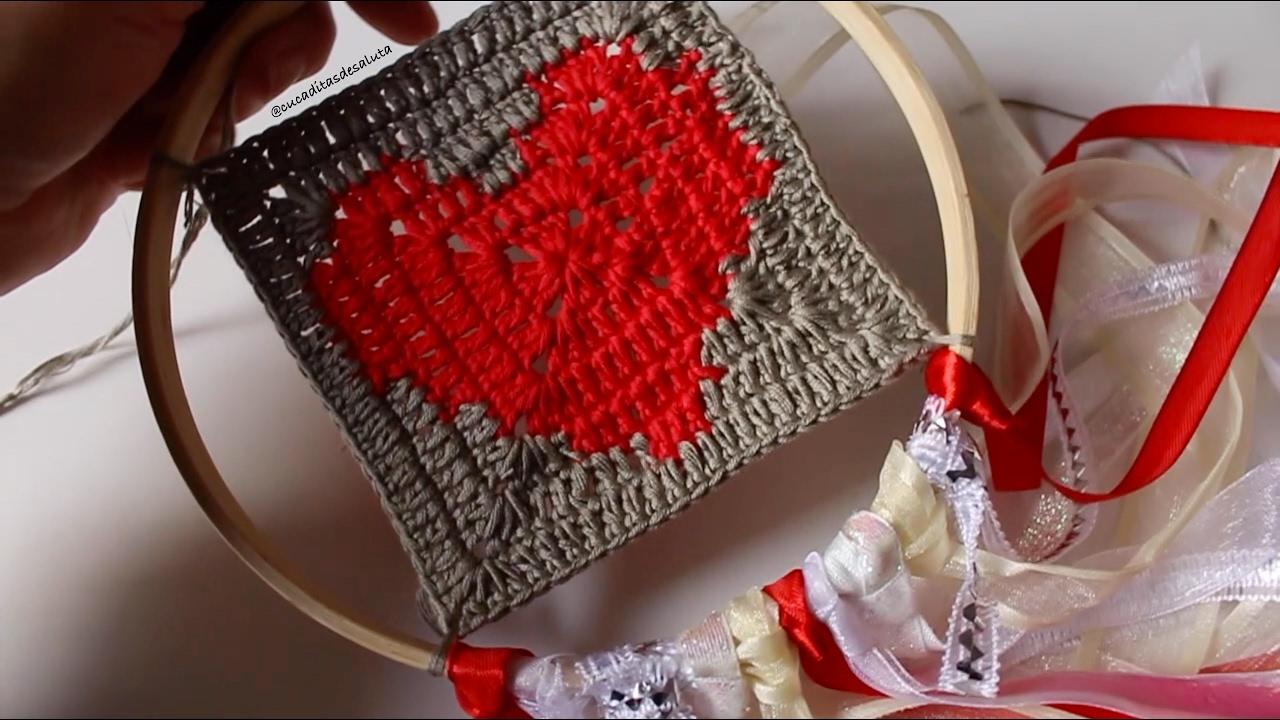Atrapasueños San Valentin Con Granny Square De Corazón