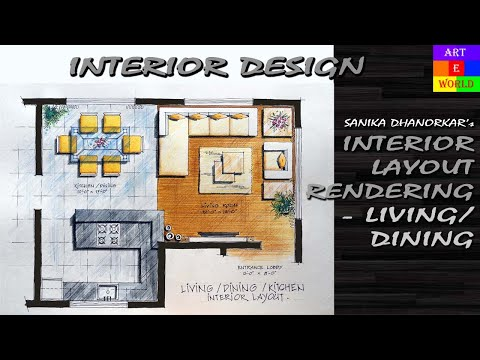 35 Manual Rendering 2d Interior Design Layout Tutorial Demo Watercolour Techniques Youtube