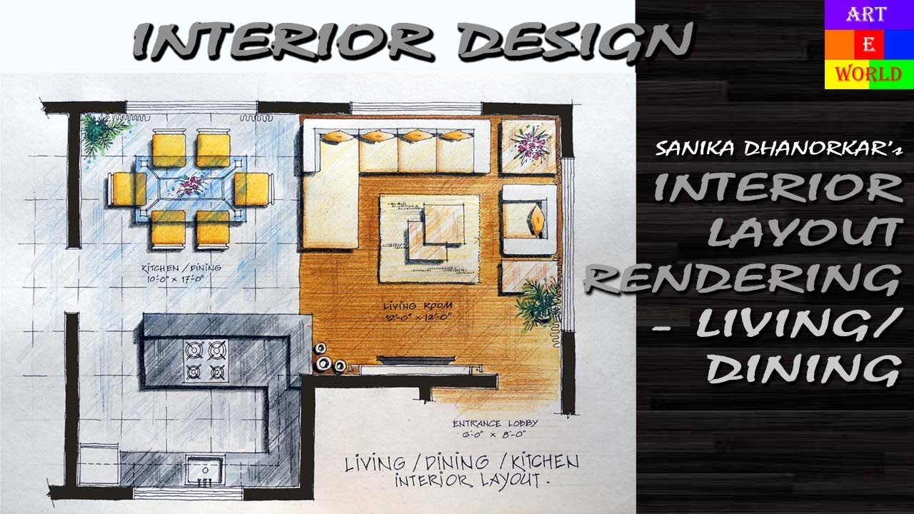35: Manual Rendering | 2D Interior Design Layout | Tutorial Demo |  Watercolour | Techniques   YouTube