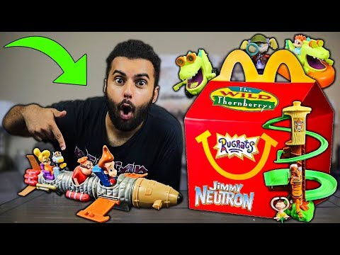 I Bought ALL The VINTAGE NICKELODEON HAPPY MEAL TOYS!! *RARE BUILD-ABLE JIMMY NEUTRON'S ROCKET SET!*