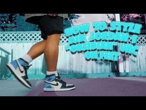 """how-to-style-air-jordan-1-""""obsidian""""-unc-on-feet-and-sneaker-review"""